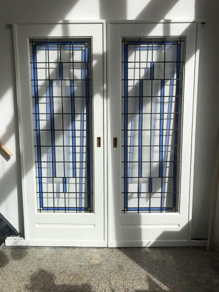 Art Deco glas in lood ensuitedeuren Den Haag-min