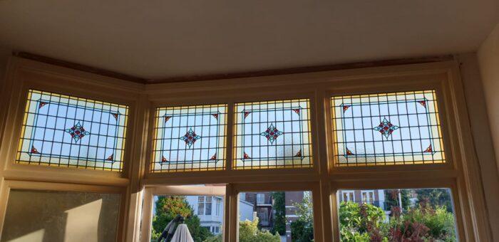 Art Nouveau Bovenlicht glas in lood in isolatieglas Scheveningen-min