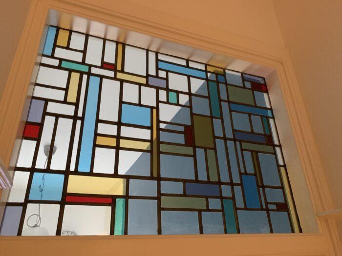 De Stijl bovenlicht glas in lood Benoordenhout-min