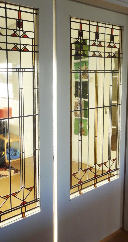 Frank Lloyd Wright stijl glas in lood schuifseparatie Waldeck-min