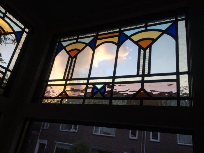 art deco bovenlicht glas in lood in isolatieglas Bohemen-min